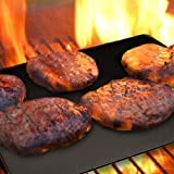 BBQ Grill Mat by Grill Magic set of 3 Nonstick - Reusable Grilling Mats #1 for Charcoal, Gas or Electric Grills, or Cooking & Baking - Easy to Clean - Dishwasher Safe - FDA Aproved - Lifetime Waranty