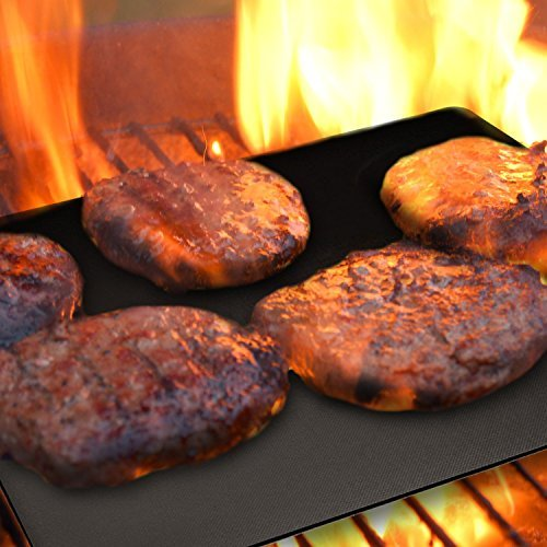 BBQ Grill Mat Set of 5 Nonstick - Reusable Grilling Mats #1 for Charcoal, Gas or Electric Grills, or Cooking & Baking - Easy to Clean - Dishwasher Safe - FDA Aproved - Lifetime Waranty by Grill Magic