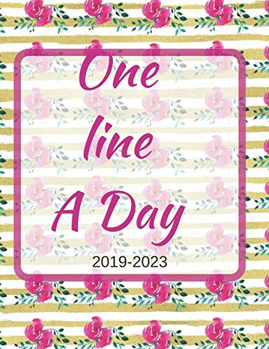 2020 Heritage Card - One Line A Day: A Cute Gold Pink Rose Floral Watercolor 2019-2023 Five Year Journal, Dated and Lined Large Memoir, Memory Tracker, Logbook, Diary, ... down, Record 5 beautiful years of your life