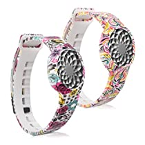 kwmobile 2in1 set: 2x Sport spare bracelet for Jawbone UP Move in Flowers dots multicolor dark pink white, Flower power multicolor dark pink white, Inner dimensions: approx. 15,5 - 23 cm