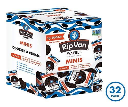 Rip Van Wafels Cookies & Cream Mini Stroopwafels - Low Carb Snacks (3g Net Carbs) - Non GMO Snack - Keto Friendly - Office Snacks - Low Calorie Snack (37 Calories) - Low Sugar (1g) - 32 Pack 2