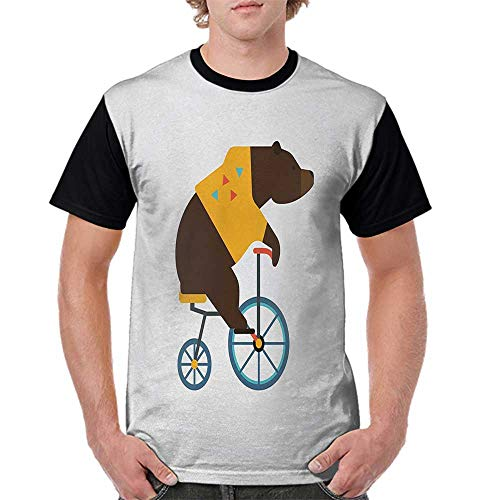 Tops O Neck T Shirts,Bicycle,Big Teddy Bear Icon of Circus Riding Bicycle with Hipster Costume Animal Image,Brown Yellow S-XXL Sleeves for Women -