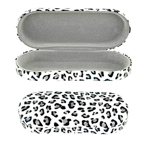 Grey Glasses Case Hard Shell Leopard Print   Medium Size   Protective Eyeglasses, Sunglasses, and Reading Glasses Case For Men, Women, and Kids