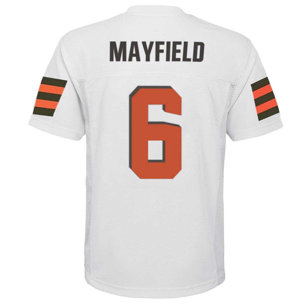 Outerstuff Baker Mayfield Cleveland Browns NFL Youth 8-20 White Road Mid-Tier Jersey