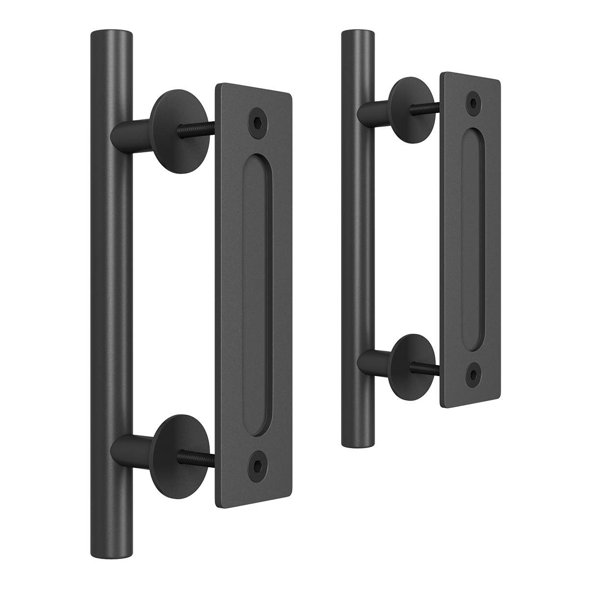 SMARTSTANDARD 2PCS Heavy Duty 12 Inch Sliding Barn Door Handle, Pull and Flush Hardware Set, Black Powder Coated Finish, Large Rustic Two-Side Design, Round