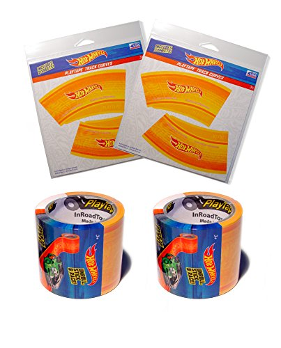 Hot Wheels PlayTape 2 Pack 30''x1.75'' Orange - Road Car Tape Great for Kids, Sticker Roll for Cars and Train Sets, Stick to Floors and Walls, Quick Cleanup, Children Toys Birthday Gift by PlayTape