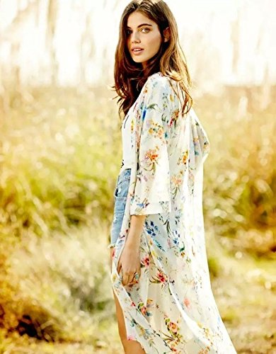 Akery Women's Floral Chiffon Kimono Cardigan Blouse Beach Cover up,Large,White by AELSON (Image #2)