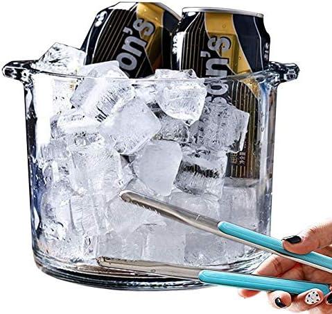 ガラス アイスペール、クリア シャンパン バケツ 飲料 ワインクーラー ポータブル ホーム アイスキューブコンテナ バーカート バーウェア 付き トング (Color : 2300ml, Size : 16x14cm(6x6inch))