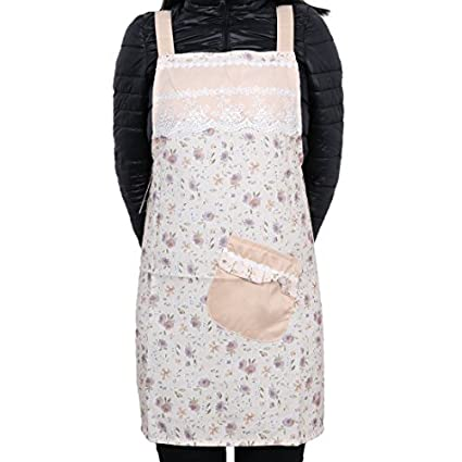 Bolsillos frontales eDealMax floral de cocina barbacoa cocinero delantal de la luz ámbar