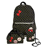 Clearance 3PC Pack School Bag Women Girls Dots Bowknot Nylon School Bag Travel Backpack+Handbag+Shoulder Bag