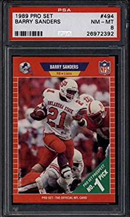 Amazoncom Barry Sanders 1989 Pro Set 494 Psa 8 Nm Mt Rc