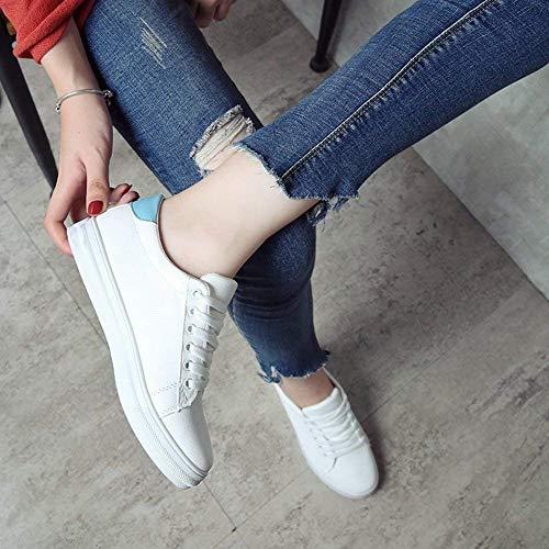 Blanc match 39 Plates Des Femmes Étudiants Blanches All Pour Blanc coloré Confortables Chaussures Avec Taille Oudan SFgZHnq