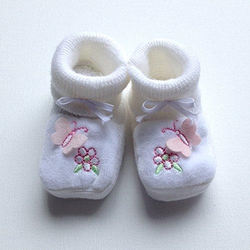 Paar Hausschuhe von Geburt für Bebe Mädchen Weiß mit Schmetterling