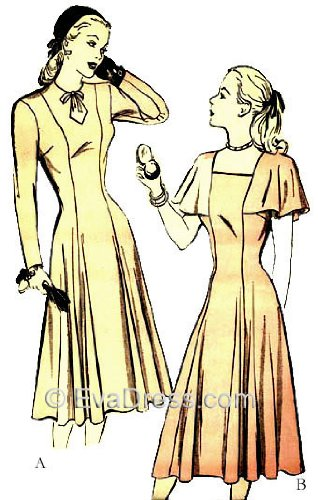 1943 Ladies' Keyhole or Square Neckline Day Dress Pattern, size 16