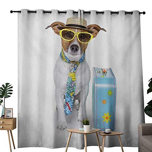 - NUOMANAN Customized Curtains Dog,Traveler Funny Dog Dressed as a Tourist with Hat Glasses Necktie and a Floral Suitcase,Multicolor,Blackout Draperies for Bedroom Living Room 52