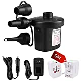 tichiqk Electric Air Pump for Inflatables, Portable Quick-Fill Inflator Deflator Air Pump for Air Mattress Bed Pool Floats Toys Rafts, Car Charger Supported, Including Travel Adapter, 3 Nozzles