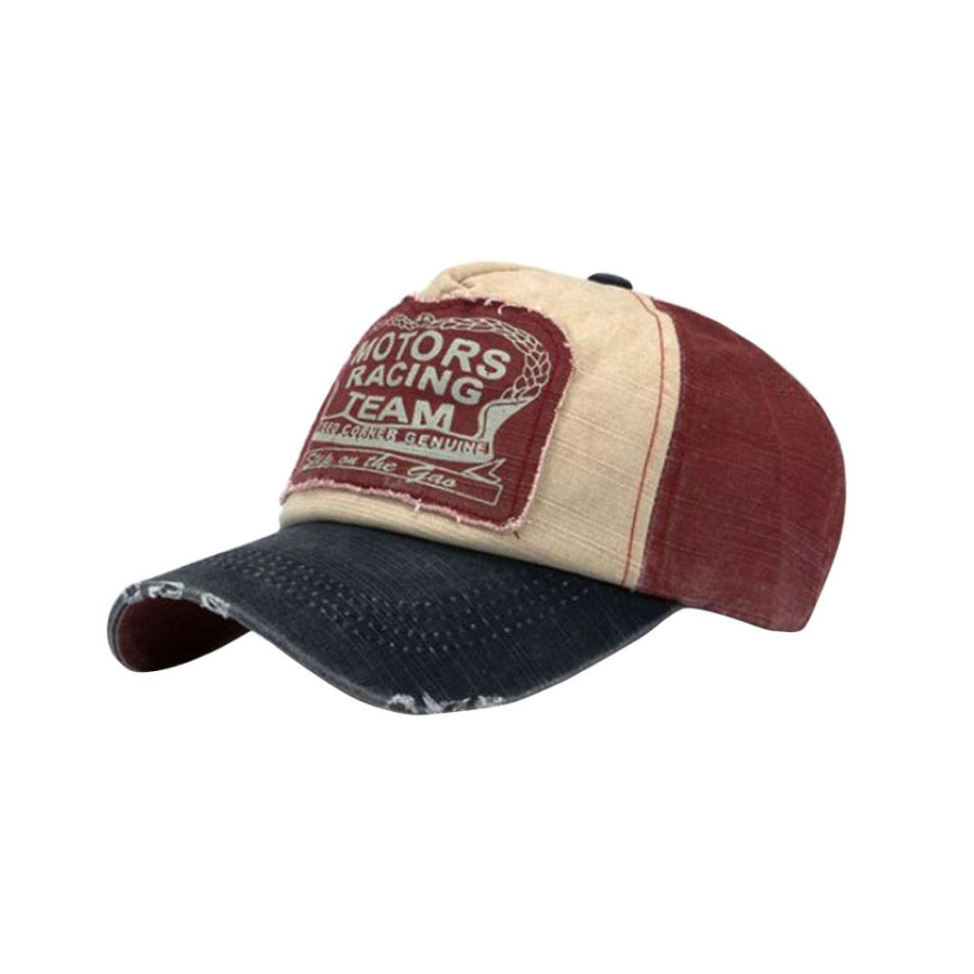 12441ccccd9 Amison Unisex Baseball Cap Cotton Motorcycle Cap Edge Grinding Do Old Hat  (Navy Blue + Red)  Amazon.co.uk  Clothing