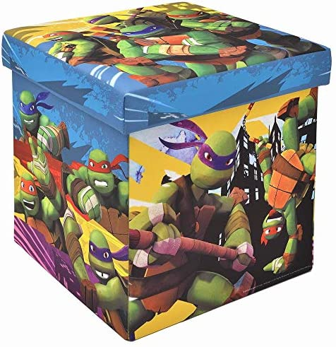 "Teenage Mutant Ninja Turtles Storage Ottoman, Officially Licensed, Sturdy 15"" Cube Footrest or Seat, Perfect for Playrooms"