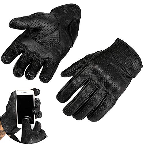 Viking Cycle Men's Premium Leather Perforated Touch Screen Motorcycle Gloves (Medium)