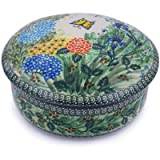 Polish Pottery Jar with Lid 7-inch Spring Garden UNIKAT
