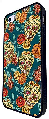 299 - Sugar Skulls Shabby Chic Floral Roses Aztec Design iphone SE - 2016 Coque Fashion Trend Case Coque Protection Cover plastique et métal - Noir