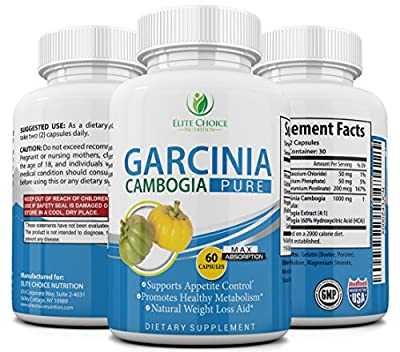 Garcinia Cambogia Safe & Effective 1000mg Per Serving - 100% Pure Natural Weight Loss Supplement - Powerful Appetite Suppressant - Burn Fat Faster & Feel More Energized Advanced Slimming