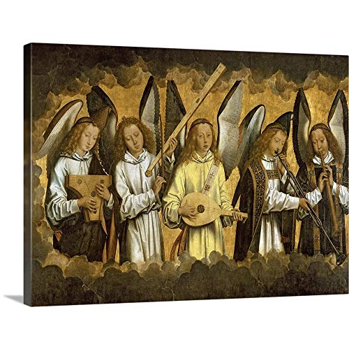 GREATBIGCANVAS Gallery-Wrapped Canvas Entitled Five Angels Playing Musical Instruments by Hans (1433-1494) Memling - Playing Instruments Musical Angels