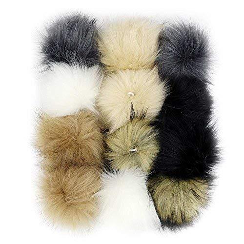 58fbeaf28c496 DIY Faux Fox Fur Fluffy Pompom Ball Mix Colors for Hats Shoes Scarves Bag  Charms Accessories 12 pcs (Mix Colors)