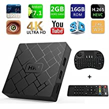 [Free Wireless Keyboard] 2018 J-DEAL 4K 7.1 Android TV Box, 2GB RAM 16GB ROM, Amlogic Quad Core A53 Processor 64 Bits, 2.4GHz WiFi Smart TV Box, HDMI 2.0 Output Support H.265 4K2K@ 60HZ Ultra HD