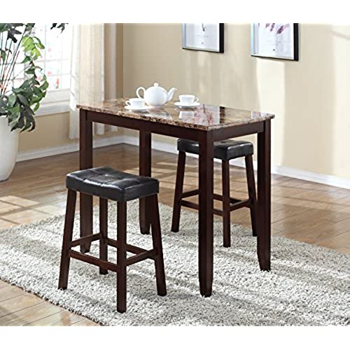 breakfast bars furniture. Roundhill Furniture 3-Piece Counter Height Glossy Print Marble Breakfast Table With Stools Bars