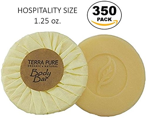 Terra Pure Green Tea Body Bar, Hospitality Size 1.25 oz Individually Wrapped Soap, Enriched with Organic Honey And Aloe Vera (Case of 350) - H2o Green Tea