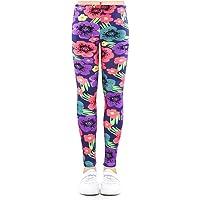 Yililay Los Pantalones de Yoga niñas Leggings Flores Impresas Deportes Medias elásticas para niños 8-9T púrpura