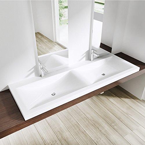BTH: 120x48x12cm, Einbauwaschbecken Colossum03, aus Gussmarmor, Doppelwaschbecken, Waschbecken