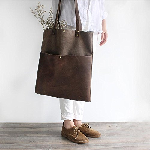 Handmade Waxed Canvas and Leather Tote Bag Women's Handbag Casual Satchel by Jellybean Gorilla
