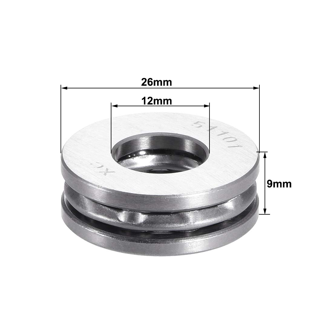 uxcell 51101 Single Direction Thrust Ball Bearings Flat Seat Chromium Steel,12x26x9mm 3pcs