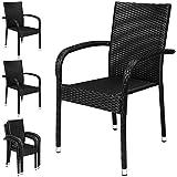 Deuba 4x Poly Rattan Garden Chairs - Black | Stackable, UV-Resistant, Weatherproof, Steel Frame