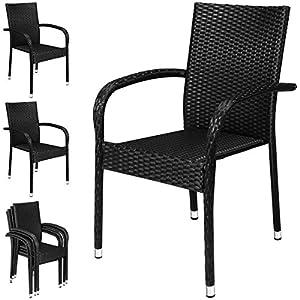 Deuba 4x Poly Rattan Garden Dining Chairs Armed Black Stackable UV-Resistant Weatherproof Steel Frame