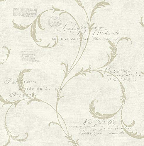 Vintage Scroll Wallpaper in Antique Gold MV82107 from Wallquest