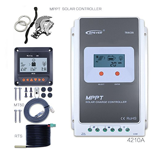 EPEVER 40A MPPT Solar Charge Controller 100V PV Tracer A 4210A + Remote Meter MT-50 + Temp Sensor Solar Charge with LCD Display for Solar Battery Charging by EPever