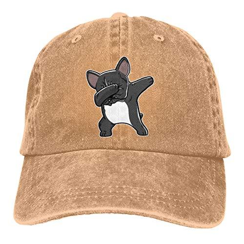 ONE-HEART HR Dabbing French Bulldog Adult Cowboy Baseball Caps Denim Hats for Men Women