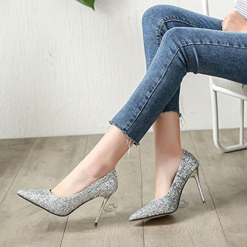 BERTERI 8 Color Sexy Paillette Shoes Women's Dress Silvery Options Pump rqnvrUC