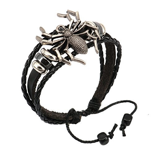Aprilsky Jewelry Genuine Leather Bangle,Cool Spider Charm Unisex Mens Womens Leather Adjustable Bracelet 7-9inch ()