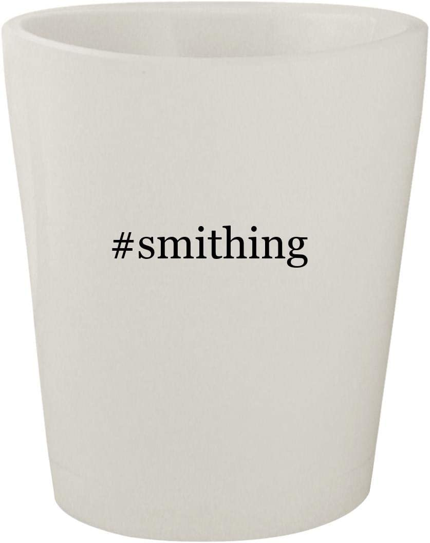 #smithing - White Hashtag Ceramic 1.5oz Shot Glass