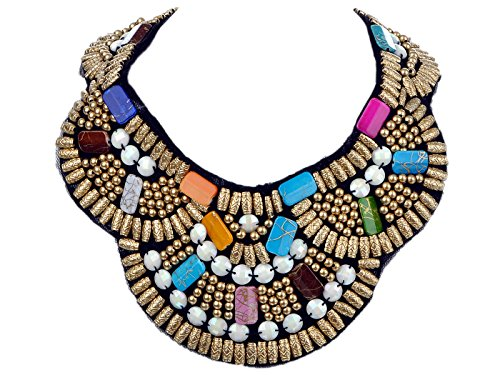 Alilang Womens Tribal Woven Multicolored Beaded Golden Tone Bib Statement Necklace