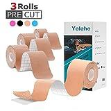 Yoloho Elastic Kinesiology Tape - 3 Rolls Precut, FDA Approved Therapeutic Sports Tape