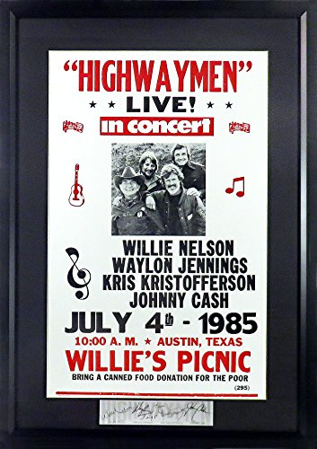 Highwaymen @ Willie's July 4th Picnic Concert Poster (SGA Signature Engraved Plate Series Feat. Nelson, Jennings, Kristofferson & Cash) Framed