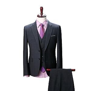 Wolfmen スーツ スリーピース メンズ 2つボタン 多色 スリム 防シワ ネクタイ付き ジレベスト ビジネス カジュアル ファッション チェック柄 パーティ/結婚式【XS-4XL】 全14柄
