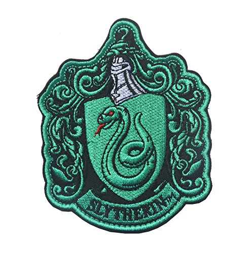 Oyster-Patch Harry Potter Hogwarts House Gryffindor/Hufflepuff/Ravenclaw/Slytherin Tactical Patch Hook & Loop - Slytherin Patch