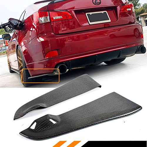 FOR 2006-2013 LEXUS IS250 IS350 ISF 2PC CARBON FIBER REAR BUMPER APRON VALANCE (Rear Bumper Apron)