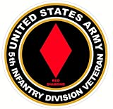 1 Pcs Mighty Fashionable US Army Veteran 5th Infantry Division Red Diamond Stickers Signs Decor Military Vinyl Size 4.5